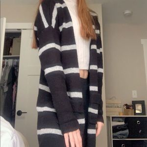 Black and White Striped Cardigan!!
